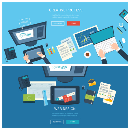 internet icons: Designer office workspace with tools and devices. Creative process, logo and graphic design, design agency. Top view banner