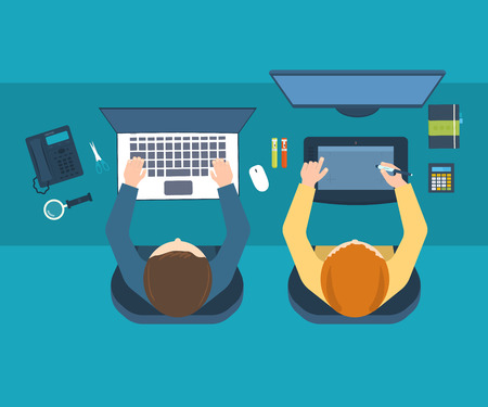 trabajo oficina: Espacio de trabajo de la oficina de diseño con herramientas y dispositivos. Piso conceptos de diseño ilustración para el análisis de negocio y planificación, trabajo en equipo, informe financiero, gestión de proyectos y el desarrollo. Vista superior Vectores