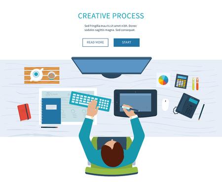 Espacio de trabajo de la oficina de diseño con herramientas y dispositivos. Proceso creativo, el logotipo y el diseño gráfico, la agencia de diseño. Vista superior de la bandera