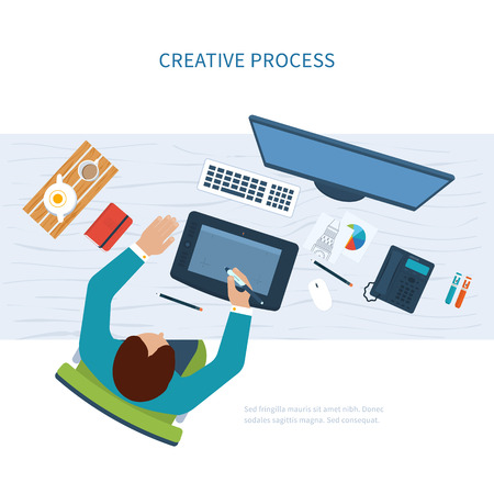 design process: Designer office workspace with tools and devices. Creative process, logo and graphic design, design agency. Top view banner