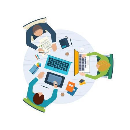 ビジネス分析と計画、チームの仕事、財務報告書、プロジェクト管理、開発フラット設計図の概念。 トップ ビュー バナー