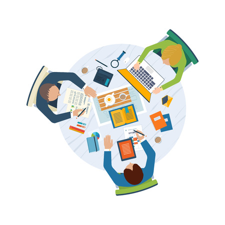 strategy development: Flat design illustration concepts for business analysis and planning, team work, financial report, project management and development.  Top view banner