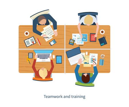 会議、チームの仕事、財務報告書、プロジェクト管理、開発のビジネス分析のためフラットなデザイン図概念。トップ ビュー バナー