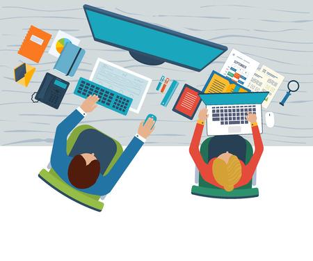 Platte ontwerp illustratie concepten voor business analyse over bijeenkomst, teamwork, financieel verslag, project management en ontwikkeling. Bovenaanzicht banner