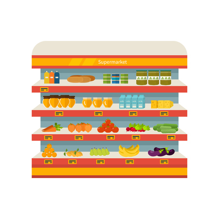 preserves: Tienda, supermercado estante interior con frutas, verduras, leche, miel, bebidas, conservas. Una alimentaci�n sana y la alimentaci�n ecol�gica. Piso aislado ilustraci�n vectorial