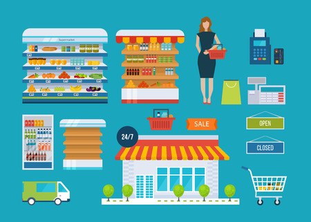 Supermarket store concept with food assortment, opening hours and payment options, delivery icons illustration vector. Store and shopping shelves, cart and basket