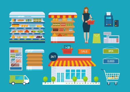 Supermarkt winkel concept met food assortiment, openingstijden en betaling, levering iconen illustratie vector. Winkel en shopping planken, kar en mand
