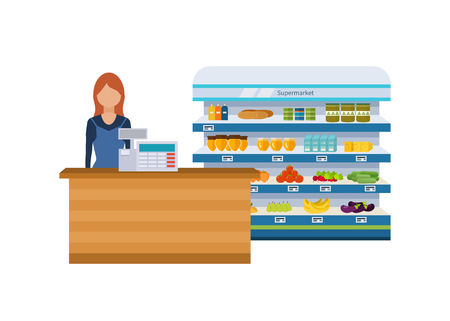 Shop, supermarket interior shelf with fruits, vegetables, milk, honey, drinks, preserves. Healthy eating and eco food. Flat isolated vector illustration