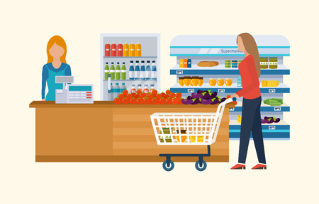 cart: Supermarket store concept with food assortment, opening hours and payment options, delivery icons illustration vector. Store and shopping shelves, cart and basket