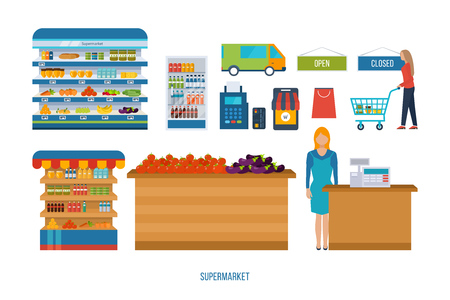 basket: Supermarket store concept with food assortment, opening hours and payment options, delivery icons illustration vector. Store and shopping shelves, cart and basket