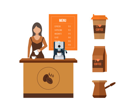 shop assistant: Young shop assistant serving a cup of coffee. Coffee shop. Coffee seller. Flat illustration.