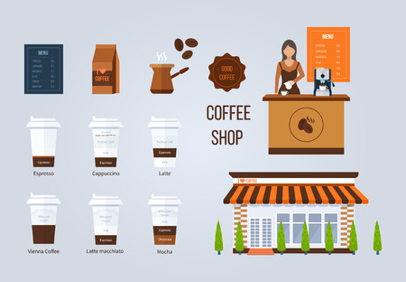 barista: Coffee shop illustration design elements. Young shop assistant serving a cup of coffee. Coffee flat collection drink. Flat illustration.