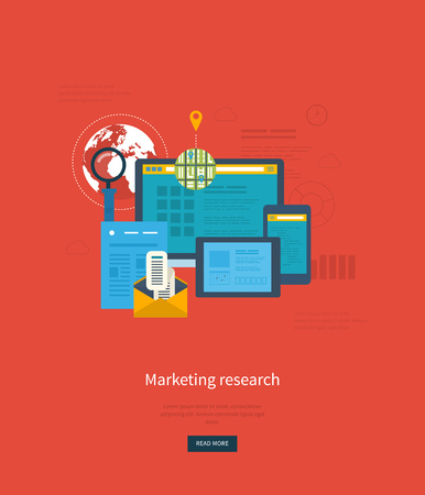 marktforschung: Flat design illustration concepts for business analytics and planning, consulting, programming, project management, market research and development. Web site analytics charts.