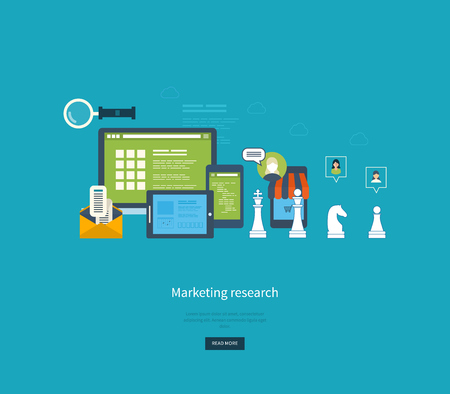 marketing research: Flat design illustration concepts for business analytics and strategy planning, consulting, programming, project management, marketing research and development. Web site analytics charts.