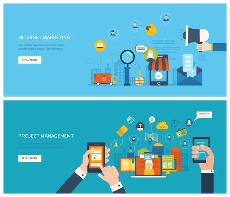 プロジェクト管理、インターネット マーケティングのためフラットなデザイン図概念。成功するビジネスを構築するための概念  イラスト・ベクター素材