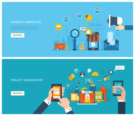 Flat design illustration concepts for project management and internet marketing. Concept to building successful business Vectores
