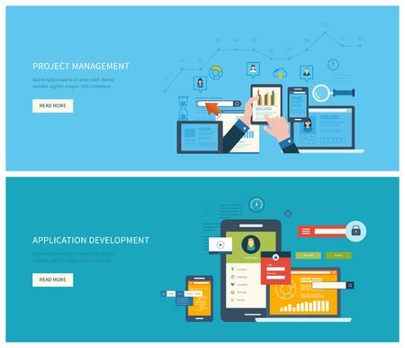 プロジェクト管理およびアプリケーション開発のフラット ベクトル デザイン イラスト コンセプト。成功するビジネスを構築するための概念  イラスト・ベクター素材