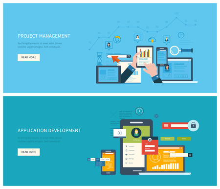 mobile application: Flat vector design illustration concept for project management and application development. Concept to building successful business Illustration