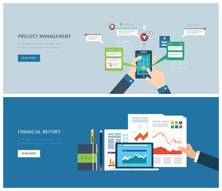 Flat design illustration concept for financial report and project management. Concept to building successful business Vettoriali