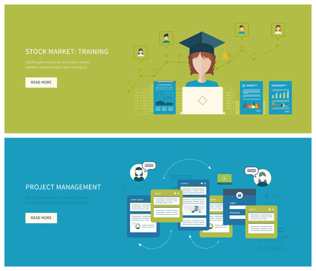 social network service: Flat vector design illustration concept for project management  stock market - training. Concept to building successful business