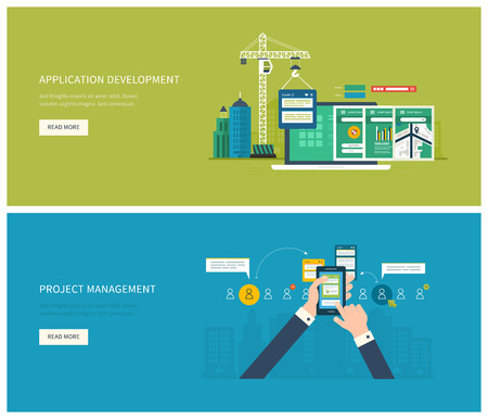 urban planning: Flat vector design illustration concept for project management and application development. Concept to building successful business Illustration