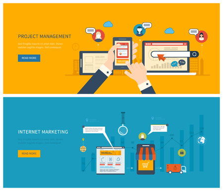 Flat design illustration concepts for project management and internet marketing. Concept to building successful business Vettoriali