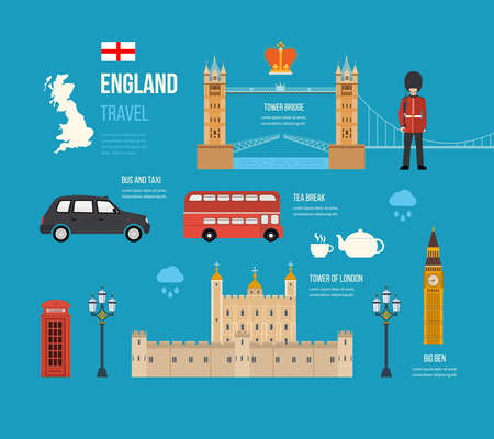 london big ben: London, United Kingdom flat icons design travel concept. London travel. Historical and modern building. Vector illustration