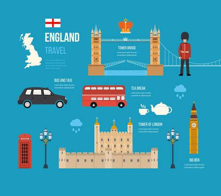 english bus: Londres, Royaume-Uni icônes plates concept de Voyage de conception. Voyage Londres. Bâtiment historique et moderne. Vector illustration Illustration