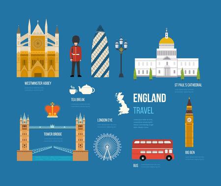 urban background: London, United Kingdom flat icons design travel concept. London travel. Historical and modern building. Vector illustration