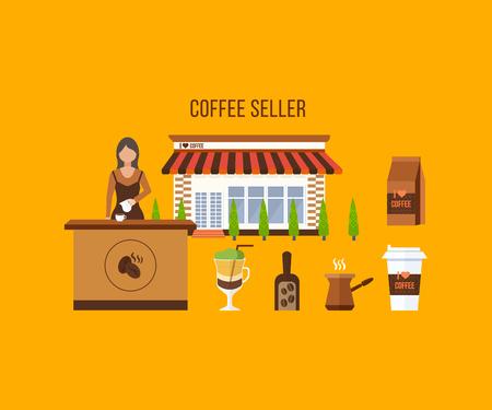 shop assistant: Coffee shop illustration design elements. Young shop assistant serving a cup of coffee. Coffee flat collection drink. Flat illustration.