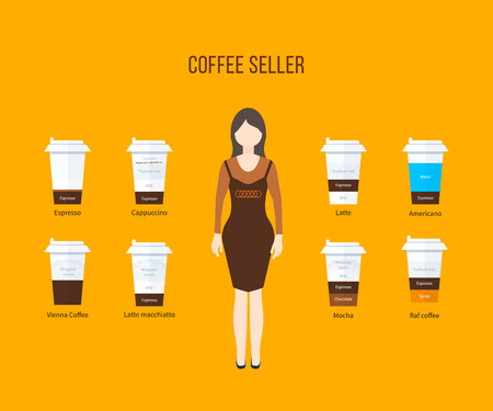 coffee machine: Coffee shop illustration design elements. Coffee flat collection drink. Flat vector illustration Illustration