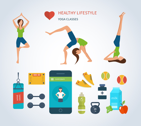 aerobics class: Modern flat vector icons of healthy lifestyle, fitness and physical activity. Yoga classes. Wellness icons for website and mobile application Illustration