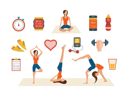 physical fitness: Modern flat vector icons of healthy lifestyle, fitness and physical activity. Yoga classes. Wellness icons for website and mobile application Illustration