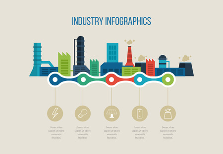 industrial design: Flat design vector concept illustration with icons of urban landscape and industrial factory buildings. Timeline illustration infographic elements.