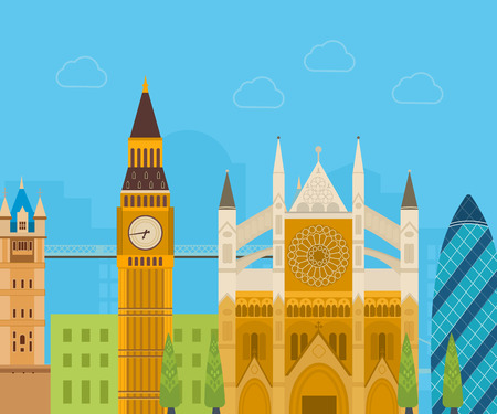 london skyline: London, United Kingdom flat icons design travel concept. London travel. Historical and modern building. Vector illustration