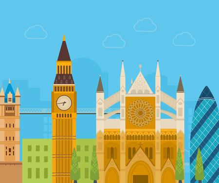london landmark: London, United Kingdom flat icons design travel concept. London travel. Historical and modern building. Vector illustration