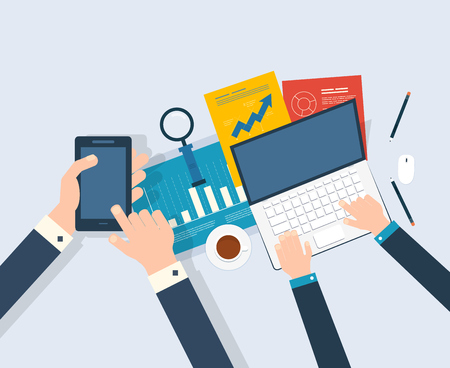Flat design modern vector illustration concept of analyzing project, financial report and strategy, financial analytics, market research and planning documents Vectores