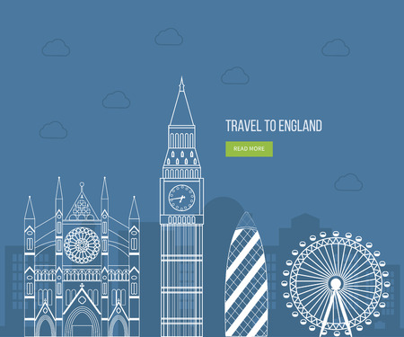 city landscape: London, United Kingdom flat icons design travel concept. London travel. Historical and modern building. Vector illustration