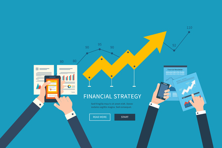 strategy: Piso conceptos de diseño ilustración para el análisis de negocio y planificación, trabajo en equipo, informe financiero y la estrategia. Bandera Conceptos web y materiales impresos.