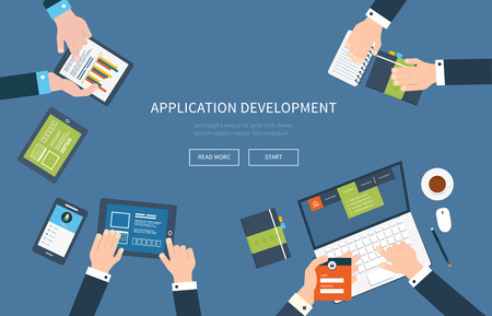 web development: Flat design illustration concepts for business analysis, consulting, teamwork, project management and application development. Illustration