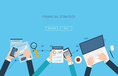 Flat design modern vector illustration concept of analyzing project, financial report and strategy, financial analytics, market research, teamwork and planning documents