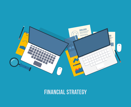 marktforschung: Flat design modern vector illustration concept of analyzing project, financial report and strategy, financial analytics, market research, teamwork and planning documents