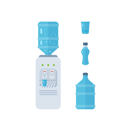 hot water tap: Water cooler. Bottle office, plastic and liquid. Vector illustration Stock Photo
