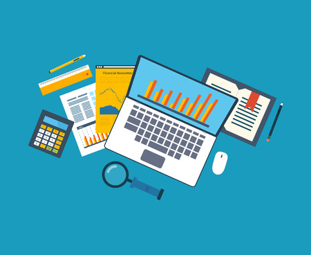 Flat design illustration concepts for business analysis, financial strategy and report, consulting, team work, project management. Concept to building successful business Vectores