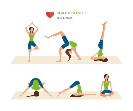 physical activity: Modern flat vector icons of healthy lifestyle, fitness and physical activity. Vector yoga illustration. Yoga set. Yoga exercises. Women yoga. Yoga class, yoga center, yoga studio. Healthy lifestyle.