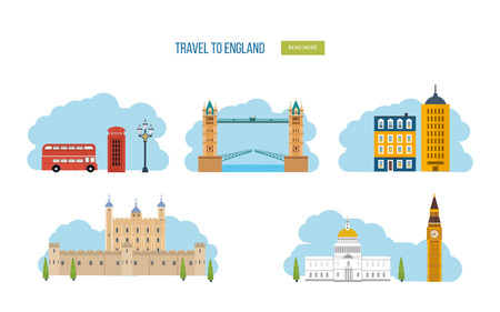 london street: London, United Kingdom flat icons design travel concept. London travel. Historical and modern building. Vector illustration