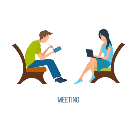 girl in love: Boy and girl talking on the internet. Online communication concept. Meeting love couple