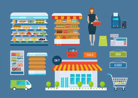 opening hours: Supermarket store concept with food assortment, opening hours and payment options, delivery icons illustration vector. Store and shopping shelves, cart and basket