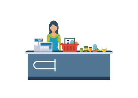 A Young cashier woman standing in supermarket. Sales clerk working with customers at the technology store or department. Flat illustration.