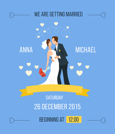 couple background: Wedding invitation with cartoon bride, groom with hearts, ribbon. The groom and the bride in a white dress and flowers in their hands.